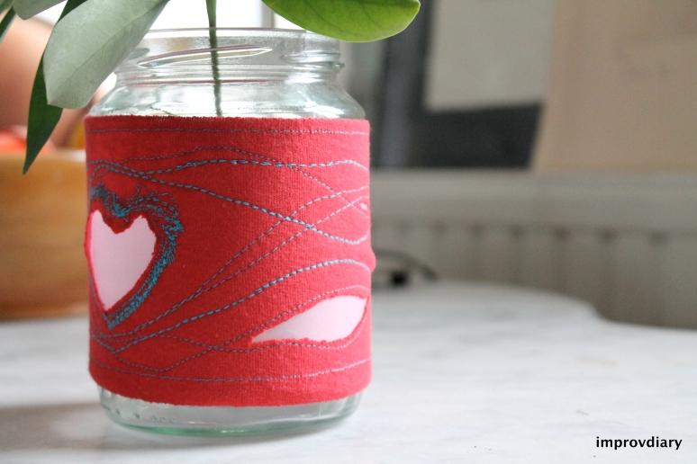 stitched valentine vase